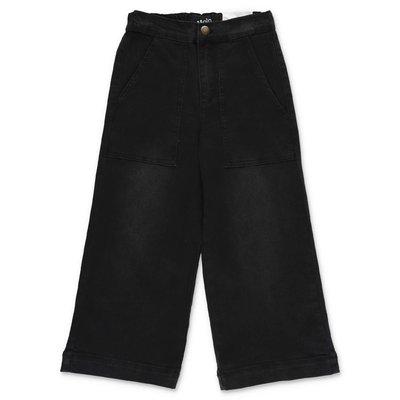 MOLO pantaloni neri svasati Alyna in denim di cotone stretch