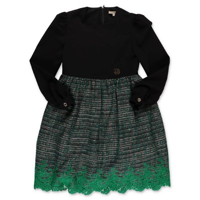Elie Saab black & green cotton blend dress