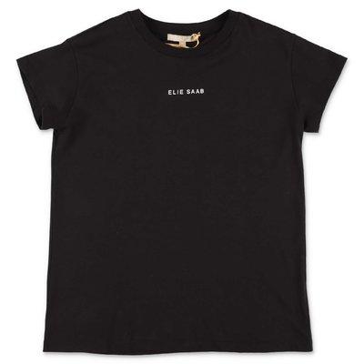 ELIE SAAB t-shirt nera in jersey di cotone con logo