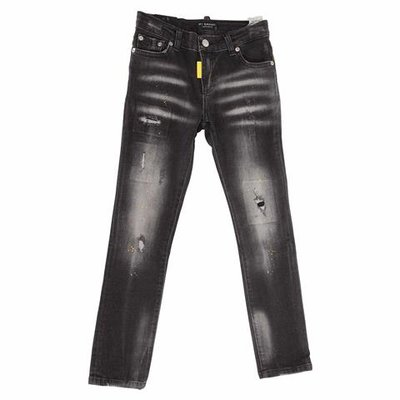 Black stretch cotton denim vintage effect jeans