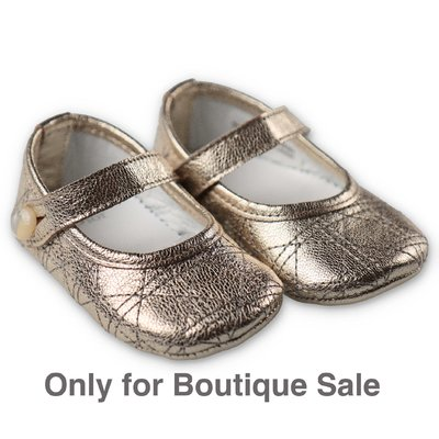 Baby Dior metallic gold nappa leather ballerinas