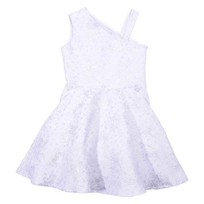 White & silver cotton blend dress