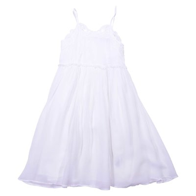 White silk & tulle dress