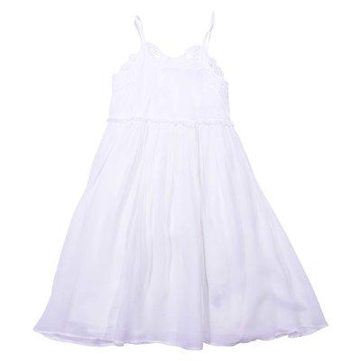 White silk & tulle dress