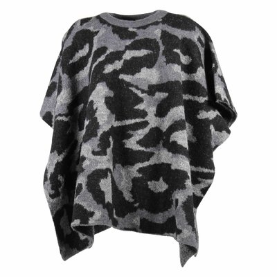 Camouflage wool blend jacquard cape