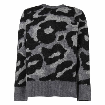 Grey and black camouflage wool blend knit jumper