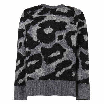 Pullover grigio e nero camouflage in maglia di misto lana