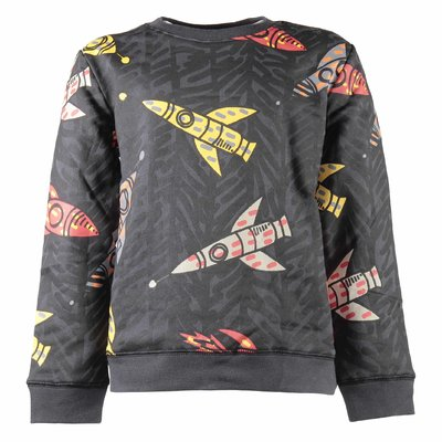 Spaceship print cotton sweatshirt