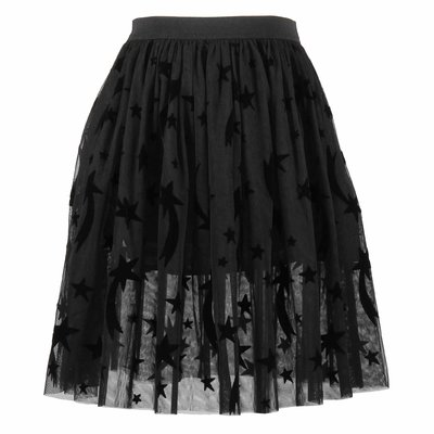 Black flocked stars tulle skirt