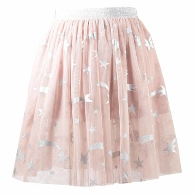 Powder pink printed tulle skirt