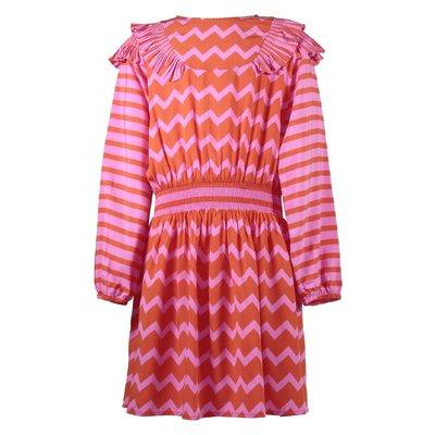 스텔라 매카트니 지그재그 스트라이프 러플 드레스