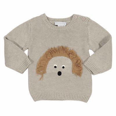 Pullover beige in maglia di cotone e lana