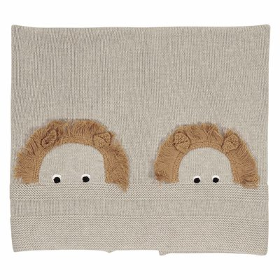 Beige cotton wool knit blanket