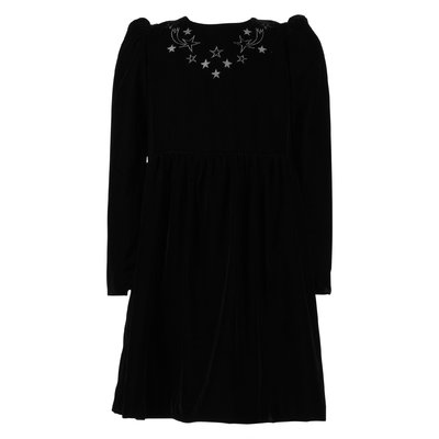 Black velvet stars emboideries dress
