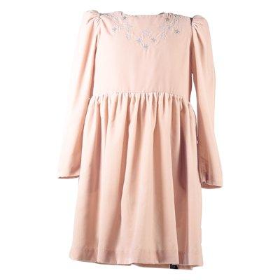 Pink velvet embroidery details dress