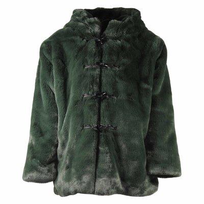 Green faux fur hooded jacket