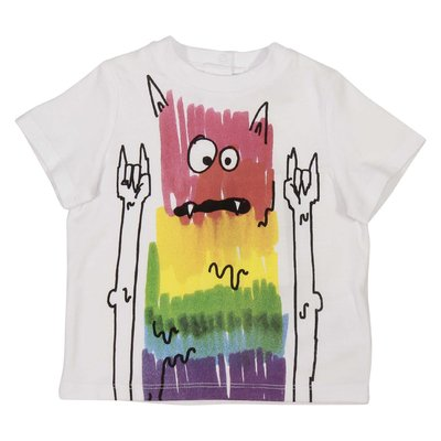 White multicolor print cotton jersey t-shirt