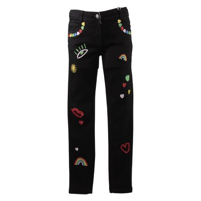 Black stretch cotton denim jeans with embroideries