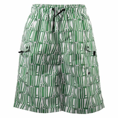 White and green logo detail nylon swim shorts