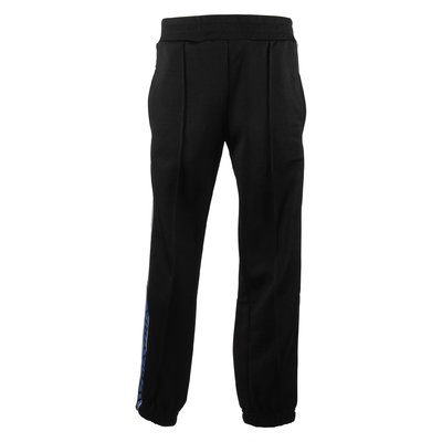 Black logo bands cotton blend pants