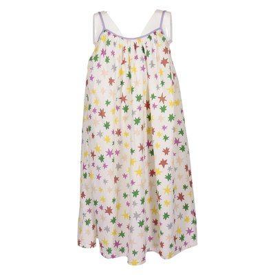White star printed flared organic cotton dress