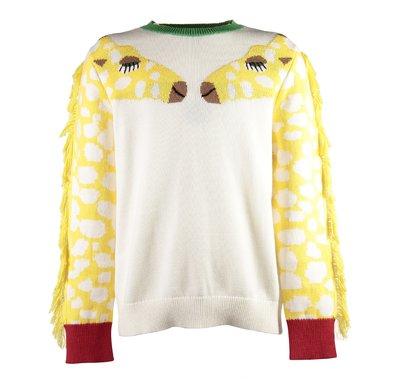 White jacquard giraffe knit jumper