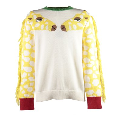 Pullover bianco in maglia di cotone con giraffe jacquard