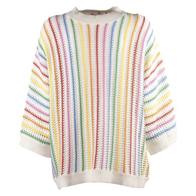 White multicolor stripes organic cotton crochet jumper