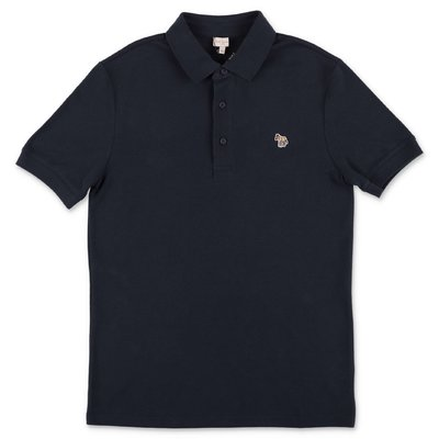 Paul Smith navy blue cotton piquet polo shirt