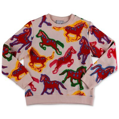 Stella McCartney Horses printed pink cotton sweatshirt