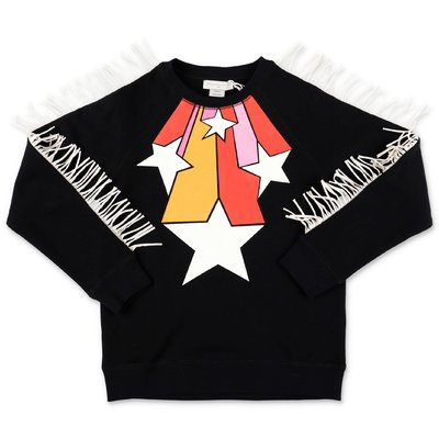 Stella McCartney black cotton fringed sweatshirt