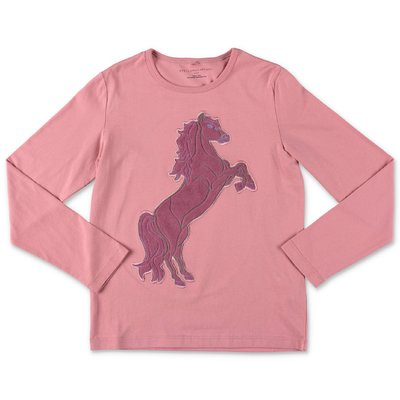 Stella McCartney t-shirt ''Horse'' rosa in jersey di cotone
