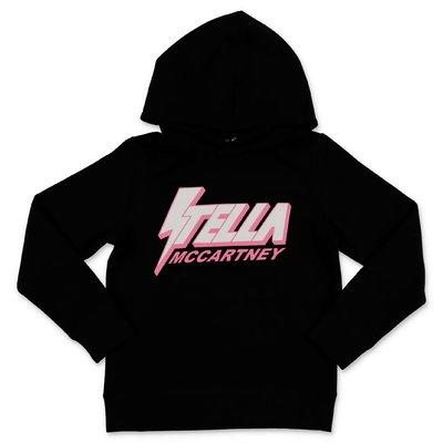 Stella McCartney felpa nera in cotone con logo e cappuccio