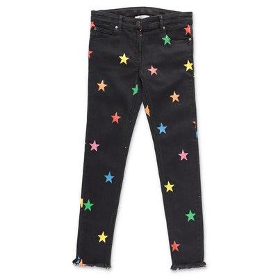 Stella McCartney jeans ''Star'' neri in denim di cotone stretch