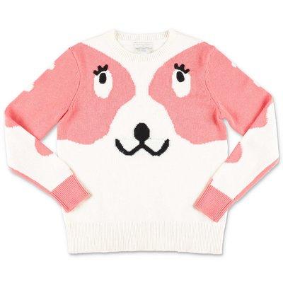 Stella McCartney pullover bianco e rosa in maglia di cotone e lana