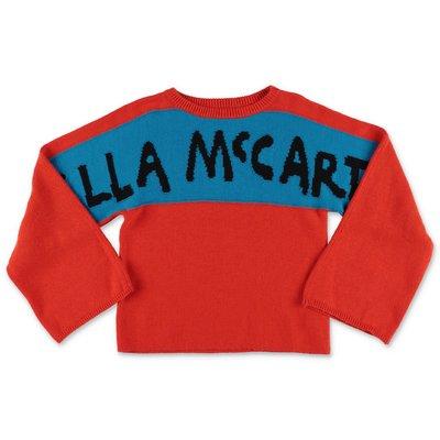 Stella McCartney pullover rosso in maglia di cotone e lana