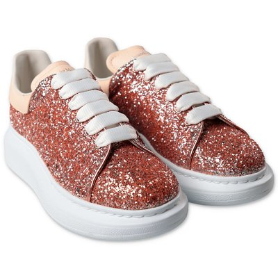 Alexander McQueen sneakers color oro rosa in pelle rivestite di paillettes