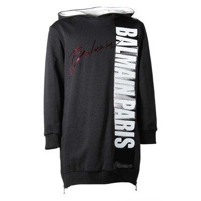 Black cotton hooded sweatdress
