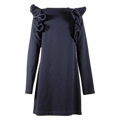 Blue denim cotton dress with ruffled details