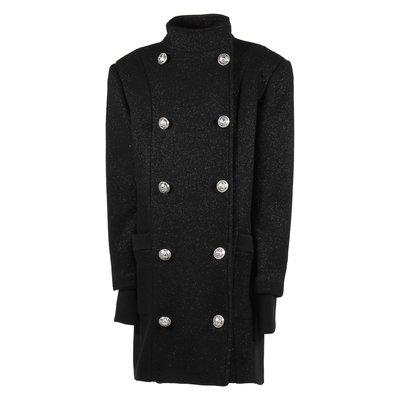 Cappotto nero doppiopetto in misto lana