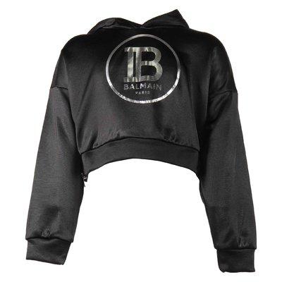 Black logo detail viscose cotton cropped sweatshirt hoodie