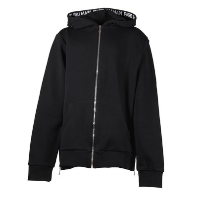 Black zip-up cotton sweatshirt hoodie