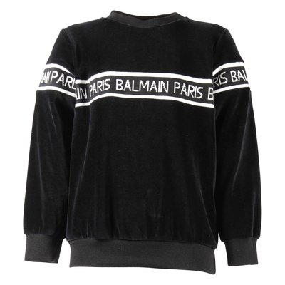 Black jacquard cotton chenille sweatshirt