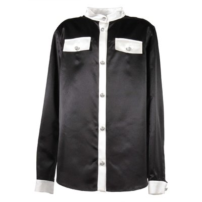 Black cotton & silk shirt