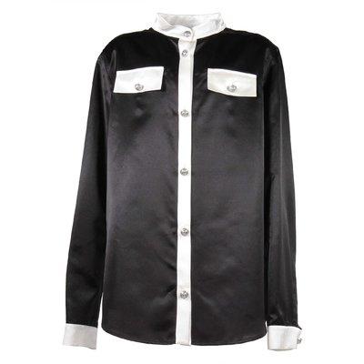 Camicia nera in cotone e seta