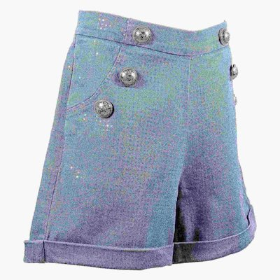 Denim cotton high waist shorts