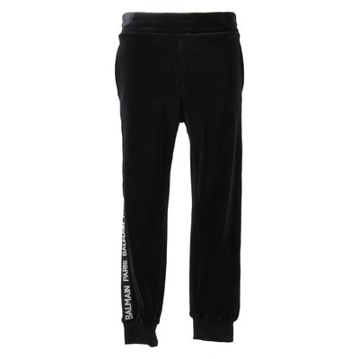 Black chenille pants with logo band