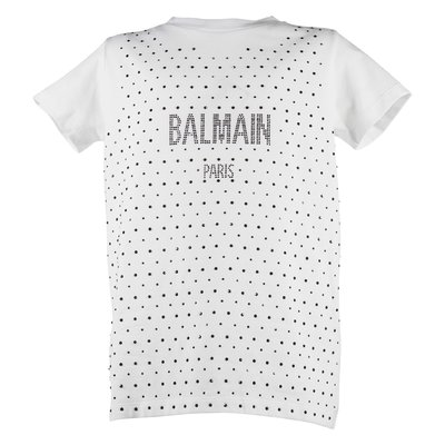 White logo and crystal detail cotton jersey t-shirt