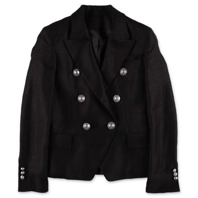 BALMAIN black linen blazer