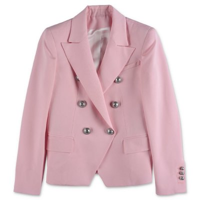 Giacca doppiopetto rosa in twill di fresco di lana